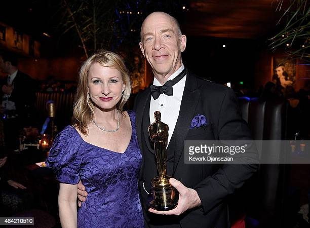 Actor J.K. Simmons , winner of Best Actor in a Supporting Role for 'Whiplash' and Michelle Schumacher attend the 87th Annual Academy Awards Governors...