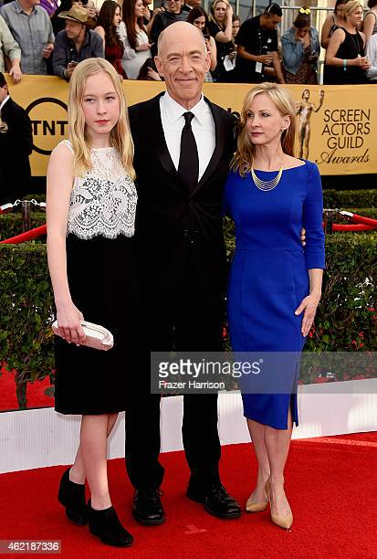 Actor JK Simmons with Olivia Simmons and Michelle Schumacher attend the 21st Annual Screen Actors Guild Awards at The Shrine Auditorium on January 25...