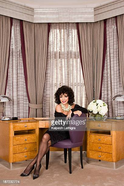 Actor Joan Collins is photographed for the Independent on October 22 2013 in London England