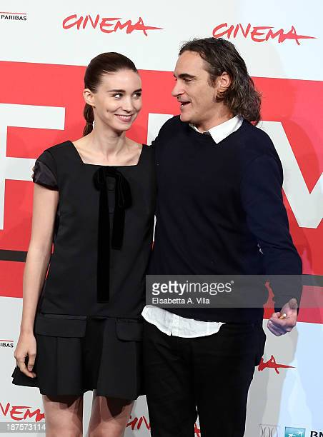 Actor Joaquin Phoenix and actress Rooney Mara attend the 'Her' Photocall during the 8th Rome Film Festival at the Auditorium Parco Della Musica on...