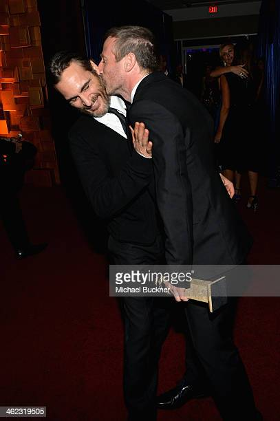 Actor Joaquin Phoenix and director Spike Jonze attend the 2014 InStyle And Warner Bros. 71st Annual Golden Globe Awards Post-Party at The Beverly...