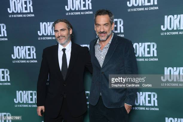 Actor Joaquin Phoenix and Director Todd Phillips attend the Joker Premiere at cinema UGC Normandie son September 23 2019 in Paris France