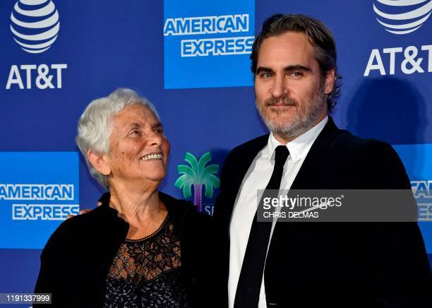 TOPSHOT US actor Joaquin Phoenix and his mother Arlyn Phoenix arrive for the 31st Annual Palm Springs International Film Festival Awards Gala at the...