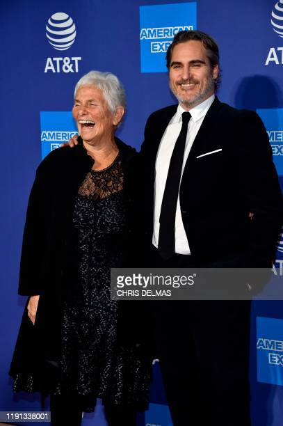 US actor Joaquin Phoenix and his mother Arlyn Phoenix arrive for the 31st Annual Palm Springs International Film Festival Awards Gala at the...