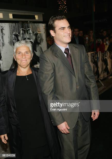 Actor Joaquin Phoenix and his mother Heart attend the premiere of Walk The Line at the Beacon Theater November 13 2005 in New York City