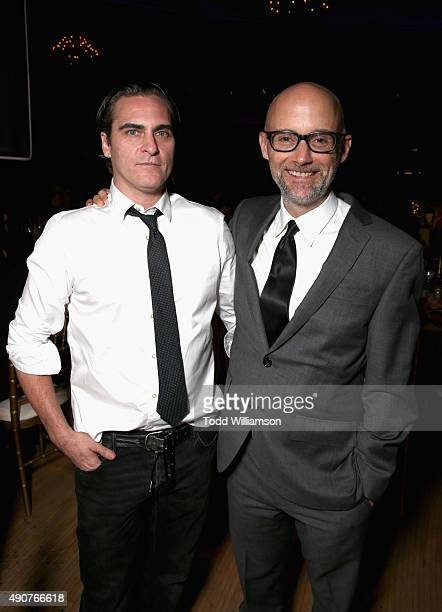 Actor Joaquin Phoenix and recording artist Moby attend PETA's 35th Anniversary Party at Hollywood Palladium on September 30 2015 in Los Angeles...