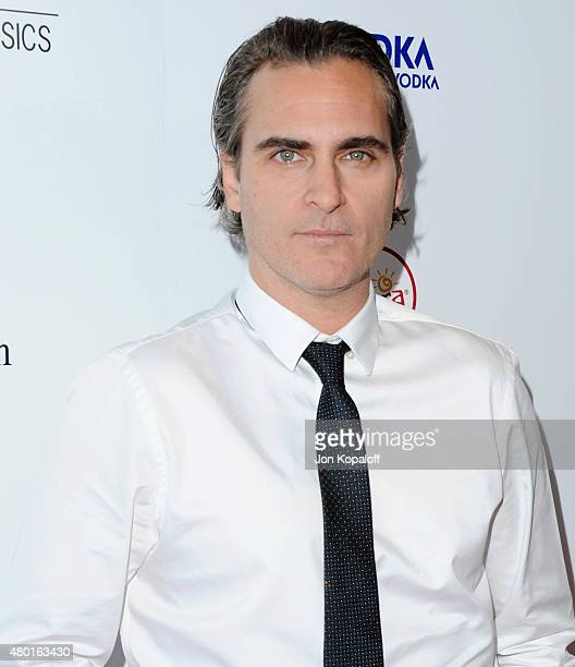 Actor Joaquin Phoenix arrives at the Los Angeles Premiere 'Irrational Man' at Writers Guild Awards on July 9 2015 in Los Angeles California