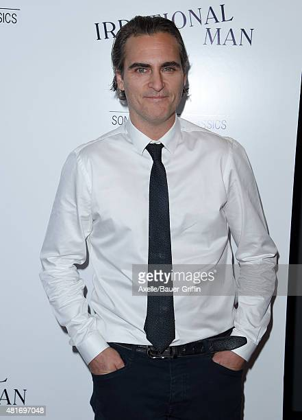 Actor Joaquin Phoenix arrives at the Los Angeles Premiere of 'Irrational Man' at the Writers Guild Theatre on July 9 2015 in Los Angeles California