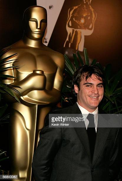 Actor Joaquin Phoenix arrives at the Oscar Nominees Luncheon at the Beverly Hilton Hotel on February 13 2006 in Beverly Hills California