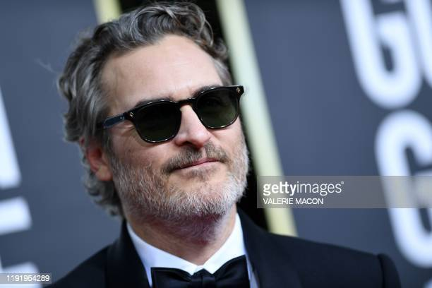 TOPSHOT US actor Joaquin Phoenix arrives for the 77th annual Golden Globe Awards on January 5 at The Beverly Hilton hotel in Beverly Hills California