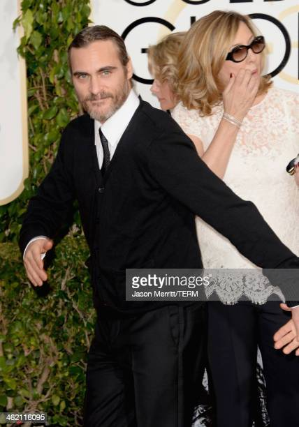 Actor Joaquin Phoenix attends the 71st Annual Golden Globe Awards held at The Beverly Hilton Hotel on January 12 2014 in Beverly Hills California