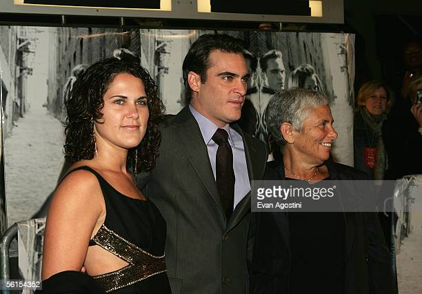 Actor Joaquin Phoenix his sister Liberty Phoenix and his mother Heart attend the premiere of Walk The Line at the Beacon Theater November 13 2005 in...