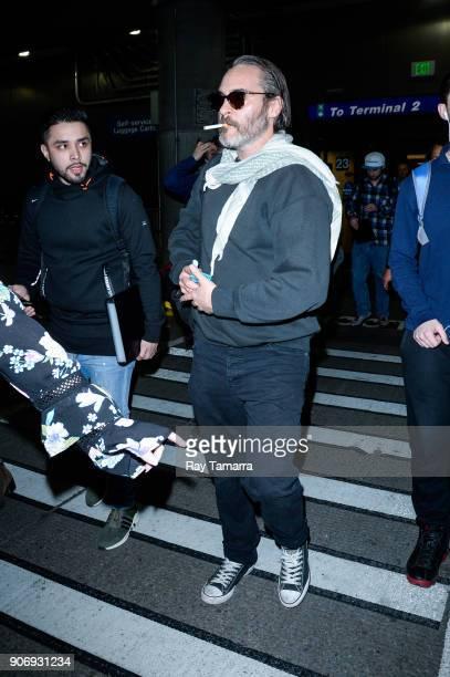 Actor Joaquin Phoenix leaves the Salt Lake City International Airport on January 18 2018 in Salt Lake City Utah