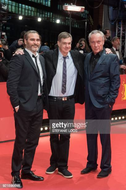 US actor Joaquin Phoenix US film director and screenwriter Gus Van Sant and German actor Udo Kier pose on the red carpet for the premiere of the film...