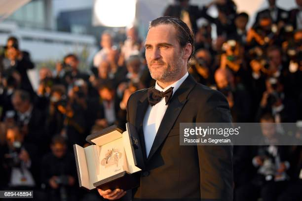 Actor Joaquin Phoenix who won the award for Best Actor for his part in the movie 'You Were Never Really Here' attends the Palme D'Or winner photocall...