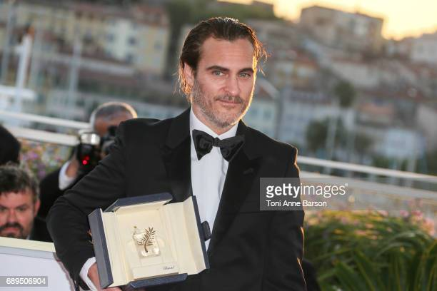 Actor Joaquin Phoenix who won the award for Best Actor for his part in the movie 'You Were Never Really Here' attends the winners photocall during...