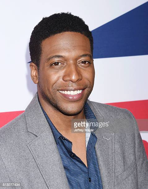 Actor Jocko Sims attends the premiere of Focus Features' 'London Has Fallen' held at ArcLight Cinemas Cinerama Dome on March 1 2016 in Hollywood...