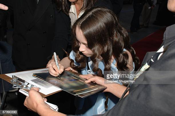 Actor Jodelle Ferland signs autographs at the premiere of TriStar Pictures' Silent Hill at the Egyptian Theatre on April 20 2006 in Hollywood...