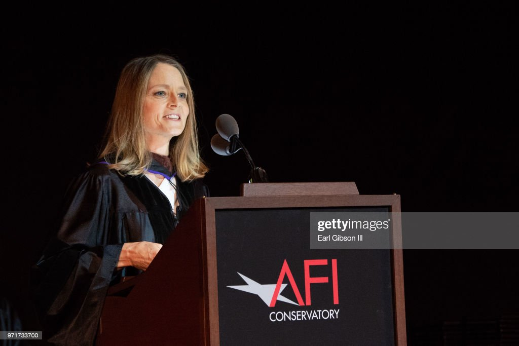 Actor Jodie Foster speaks onstage at AFI's Conservatory Commencement Ceremony at TCL Chinese Theatre on June 11, 2018 in Hollywood, California.