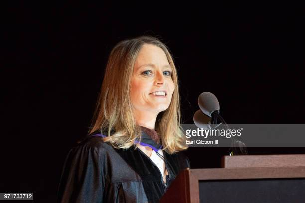 Actor Jodie Foster speaks onstage at AFI's Conservatory Commencement Ceremony at TCL Chinese Theatre on June 11 2018 in Hollywood California