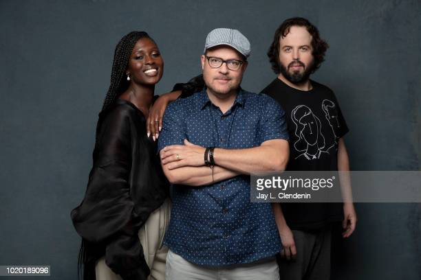 Actor Jodie TurnerSmith EP Jeff Buhler and Angus Sampson from 'Nightflyers' are photographed for Los Angeles Times on July 19 2018 in San Diego...