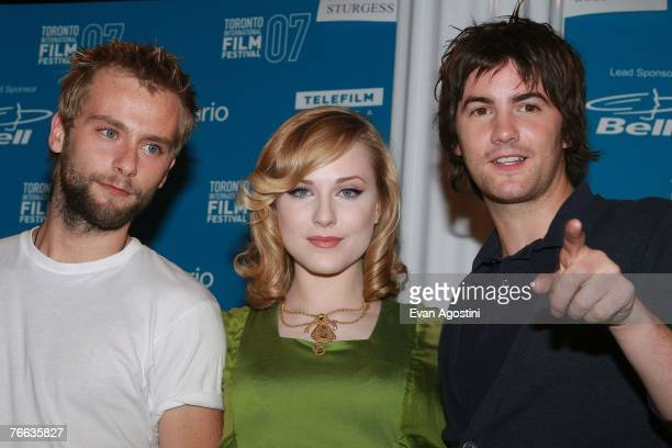 Actor Joe Anderson actress Evan Rachel Wood and actor Jim Sturgess attend the Across the Universe press conference during the Toronto International...