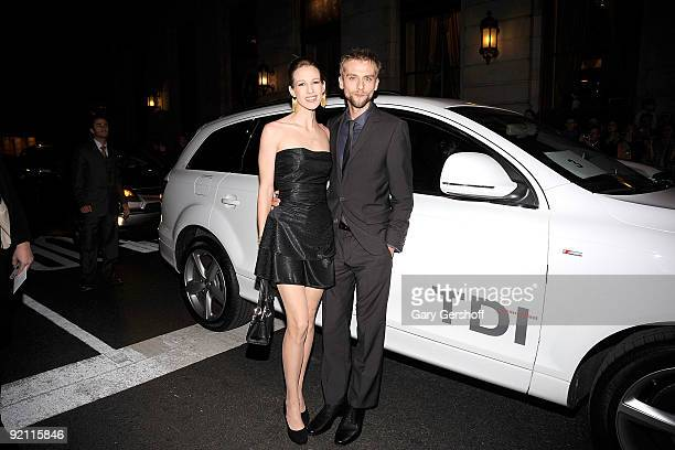 Actor Joe Anderson and wife Elle Anderson arrive in the Audi Q7 TDI clean diesel to the Amelia Premiere at The Paris Theatre on October 20 2009 in...