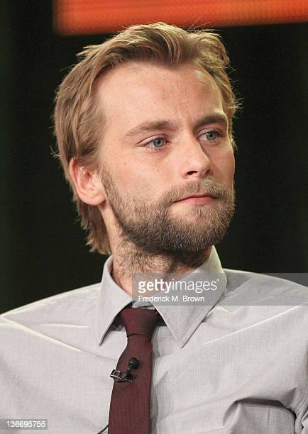 Actor Joe Anderson speaks during 'The River' panel during the ABC portion of the 2012 Winter TCA Tour held at The Langham Huntington Hotel and Spa on...