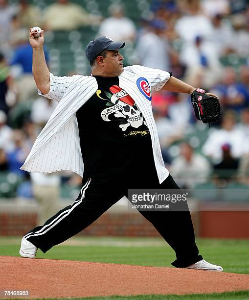 Actor Joe Gannascoli of 'The Sopranos' throws out a ceremonial first pitch before a game between the Chicago Cubs and the San Francisco Giants on...
