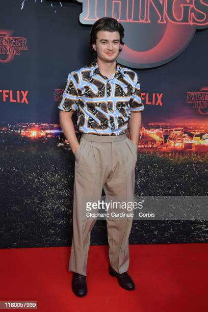 """Actor Joe Keery attends the Premiere of Netflix's """"Stranger Things 3"""" At Le Grand Rex on July 04, 2019 in Paris, France."""