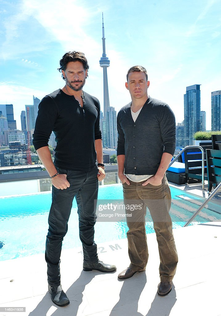 Actor Joe Manganiello and Actor Channing Tatum pose for a portrait at the press junket for their new film 'Magic Mike' at the Thompson Hotel on June 14, 2012 in Toronto, Canada.