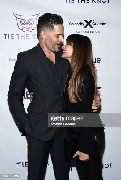 Actor Joe Manganiello and actress Sofia Vergara arrive at Jesse Tyler Ferguson's Tie The Knot 5Year Anniversary celebration at NeueHouse Hollywood on...