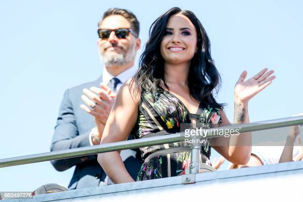 Actor Joe Manganiello and actress/musician Demi Lovato arrive at the premiere of Sony Pictures' Smurfs The Lost Village at ArcLight Cinemas on April...