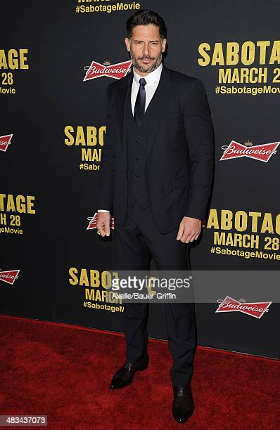 Actor Joe Manganiello arrives at the Los Angeles premiere of 'Sabotage' at Regal Cinemas LA Live on March 19 2014 in Los Angeles California