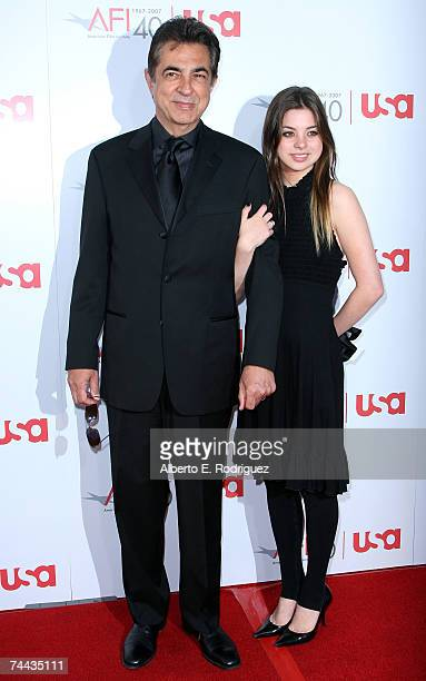 Actor Joe Mantegna and daughter Dominik Mantegna arrives to the 35th AFI Life Achievement Award tribute to Al Pacino held at the Kodak Theatre on...
