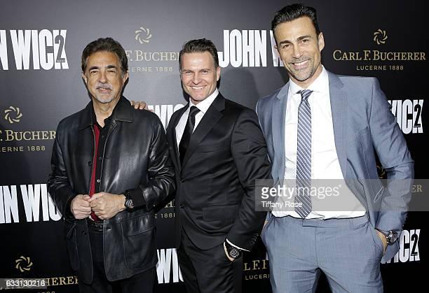Actor Joe Mantegna Carl F Bucherer CEO Sascha Moeri and actor Daniel Bernhardt attend the premiere of 'John Wick Chapter 2' sponsored by Carl F...