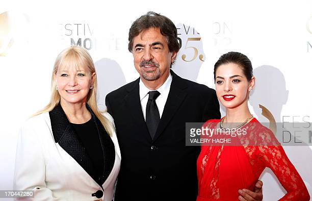 US actor Joe Mantegna poses with his wife Arlene and daughter Gia during the closing ceremony of the 53rd MonteCarlo Television Festival on June 13...
