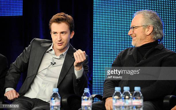"""Actor Joe Mazzello and executive producer Steven Spielberg of """"The Pacific"""" speak during the HBO portion of the 2010 Television Critics Association..."""