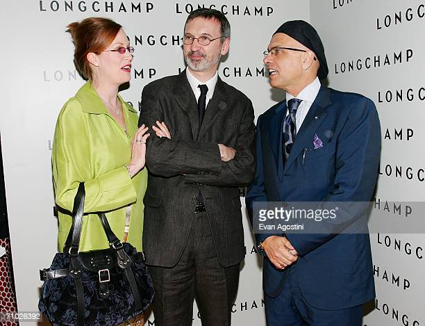 Actor Joe Pantoliano and wife Nancy Sheppard chat with Longchamp managing director Jean Cassegrain at the grand opening of the Longchamp US Flagship...