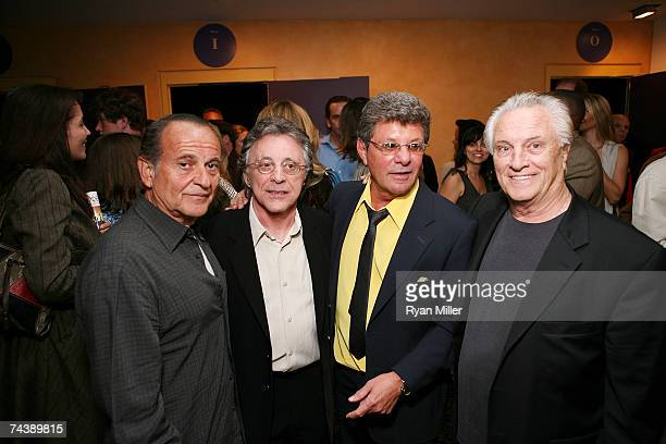 Actor Joe Pesci Singer Frankie Valli Singer Frankie Avalon and Four Season Member Musician Tommy DeVito pose during the opening night party for...