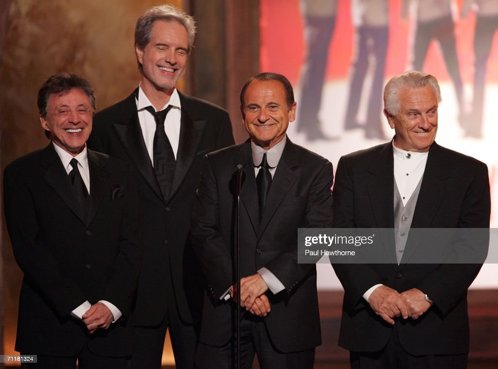 Actor Joe Pesci (2nd-R) stands onstage with Frankie Valli (L) and the original Four Seasons onstage at the 60th Annual Tony Awards at Radio City Music Hall June 11, 2006 in New York City.