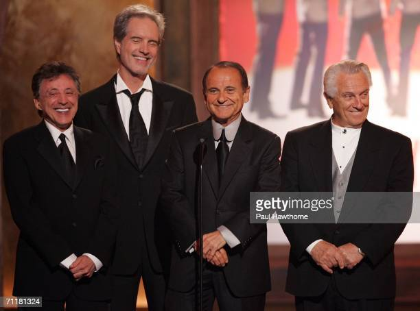 Actor Joe Pesci stands onstage with Frankie Valli and the original Four Seasons onstage at the 60th Annual Tony Awards at Radio City Music Hall June...