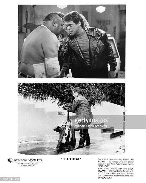 """Actor Joe Piscopo on set. Actor Treat Williams on set of the movie """"Dead Heat"""" circa 1988."""