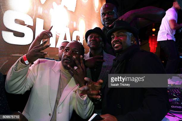 Actor Joe Torry Shaquille O'Neal and Actor Bill Bellamy and guest attend the 2016 NBA AllStar Weekend Maxim Party at Muzik on February 12 2016 in...