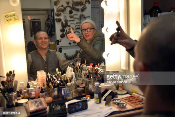 Actor Joel Basman has his makeup done by makeup artist Katja Alexis on set in EschsurAlzette Luxembourg 5 May 2017 Basman currently plays Rudolf...