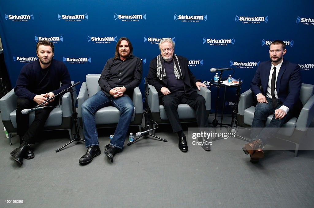 Actor Joel Edgerton, actor Christian Bale and director Ridley Scott take part in a SiriusXM 'Town Hall- Exodus: Gods and Kings' special with host Matt Bean (R), Editor of Entertainment Weekly, on SiriusXM's Entertainment Weekly Radio channel at the SiriusXM Studios on December 8, 2014 in New York City.