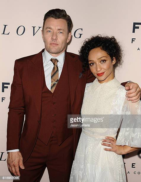 Actor Joel Edgerton and actress Ruth Negga attend the premiere of 'Loving' at Samuel Goldwyn Theater on October 20 2016 in Beverly Hills California