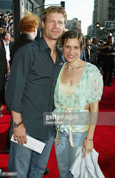 Actor Joel Gretsch and wife Melanie Shatner arrive at the World Premiere of Collateral at the Orpheum Theatre on August 2 2004 in Los Angeles...