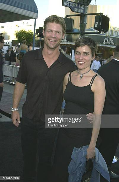 Actor Joel Gretsch arrives at the premiere with his friend Melanie