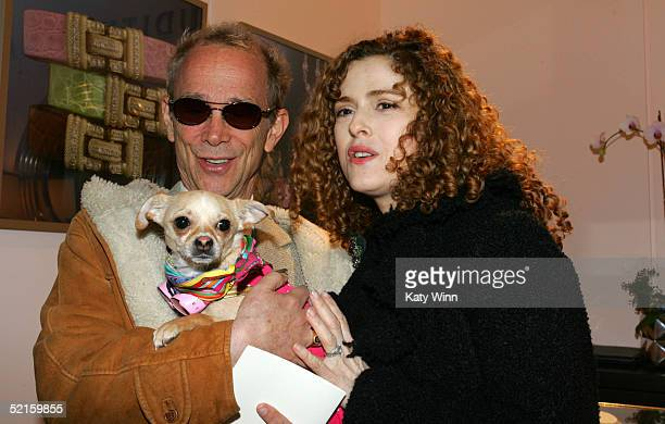 Actor Joel Grey , actress Bernadette Peters and Lucy Anne are seen in the lobby of the main tent during Olympus Fashion Week Fall 2005 at Bryant Park...